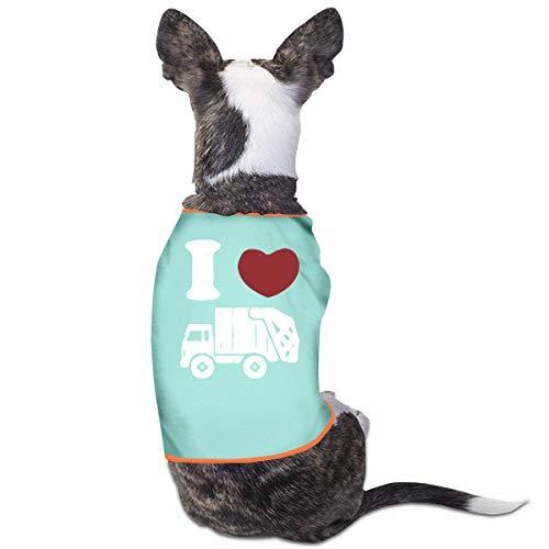 LNUO-2 Pet Shirt Clothes, I Love Trash Garbage Trucks Dog Cat Shirts Apparel ()