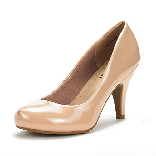 DREAM PAIRS ARPEL Women's Formal Evening Dance Classic Low Heel Pumps Shoes New Nude Pat Size 8