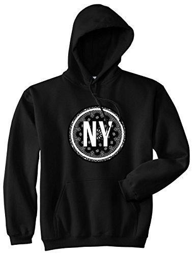 Paisley Hoody Sweatshirt - Kings Of NY New York Bandana Print Paisley NYC Pullover Hoody Sweatshirt XX-Large Black