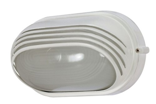 Nuvo Lighting 60/522 Bulkhead 1-Light Oval Hood 60W A19, Semi Gloss (1 Light Bulkhead)