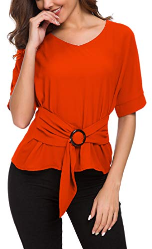 (ACONIYA Womens Tie Knot Casual Belted Blouse Elegant Long/Short Sleeve Shirt Work Tunic Tops (Light Orange, 2XL))