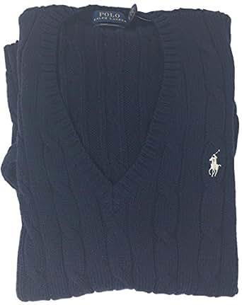 POLO RALPH LAUREN Womens Merino Wool Sweater (Navy, X-Small)