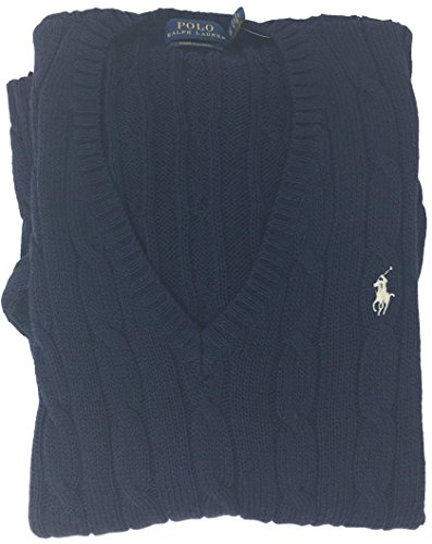 - Polo Ralph Lauren Womens V-neck Split Hem Sweater (Small, Navy Blue)