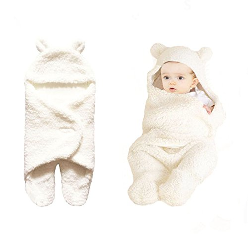 Wolmund Newborn 0-12 Months Baby Cute Cotton Receiving White Sleeping Blanket Boy Girl Wrap Swaddle by Wolmund