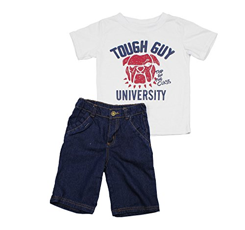 Turtle Bay Kids Toddler Boys 2 Piece Tough Guy University Printed Shirt and Denim Shorts Set, 2T, White - Bay Summer Set