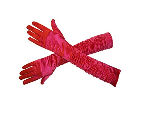 Red Gathered Satin (Jacobson Hat Company Women's Adult 18 Inch Long Gathered Satin Gloves, Red, One Size)