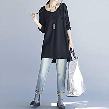 Farjing Women Casual Loose Long Sleeve Solid Sling Hooded Holiday Long Tops Shirt Blouse(s,black) 3