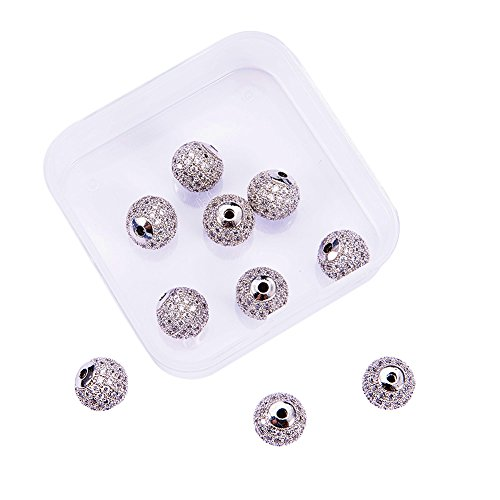 (NBEADS 1 Box 10pcs 10mm Platinum Color Clear Crystal Cubic Zirconia Pave Micro Setting Disco Ball Spacer Beads, Brass Round Bracelet Connector Charms Beads for Jewelry Making)