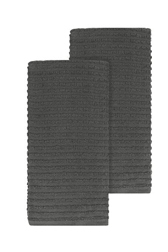 Ritz Royale Collection 100% Combed Terry Cotton, Highly Absorbent, Oversized, Kitchen Towel Set, 28 x 18, 2-Pack, Solid Graphite