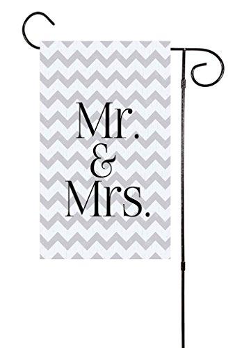 chevron-mr-mrs-garden-flag-12x18