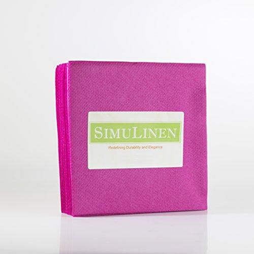 "SimuLinen Cocktail & Party Napkins – MAGENTA Beverage Napkins – Decorative, Absorbent, Cloth Like & Disposable – (10""x10"" – Pack of 250) … (Beverage Magenta Napkins)"