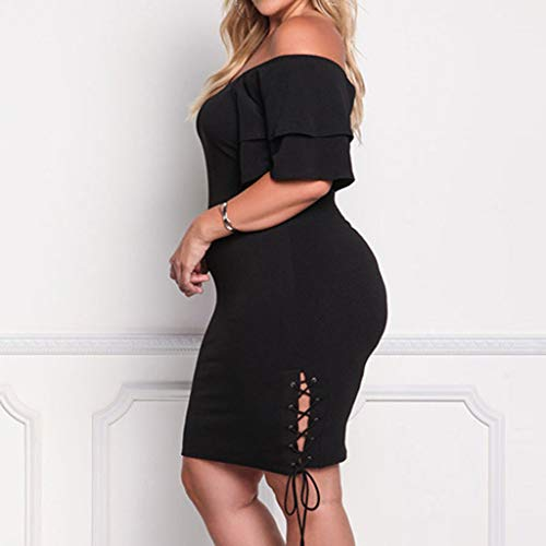 Xiaojmake Women Plus Size Off The Shoulder Bodycon Dress Short Sleeve Mini Dress
