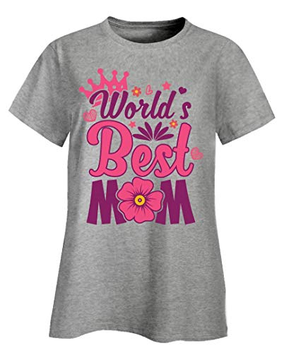 - World's Best Mom Mother's Day - Ladies T-Shirt Ash Grey