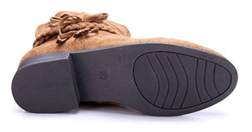Schuhtempel24 Damen Schuhe Klassische Stiefeletten Stiefel Boots Blockabsatz Zierschleife 3 cm Camel