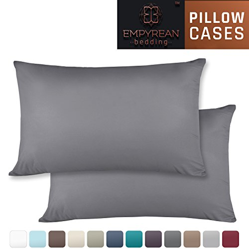 Set of 2 Premium Standard-Size Pillowcases – Superior-Quality Microfiber Linen, Hypoallergenic & Breathable Design, Soft & Comfortable Hotel Luxury – Charcoal Gray