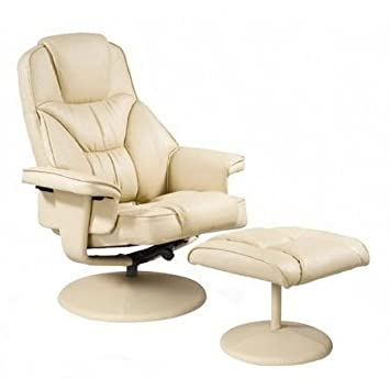 relaxateeze milano cream faux leather swivel recliner chair foot