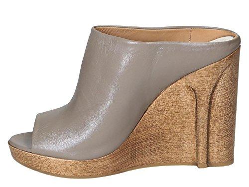 Maison Margiela cuñas diapositivas zapatos en piel Taupe - Número de modelo: S38WP0275 SX7730 - Tamaño: 39.5 EU