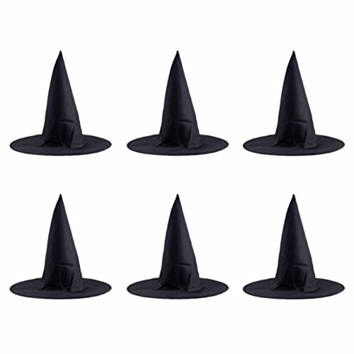 6pcs Black Witch Hat Adult Womens Halloween Costume Fancy Dress