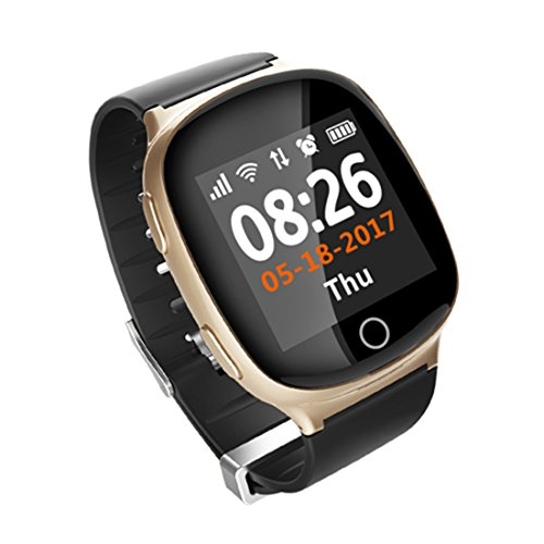 PINCHU D100 Smart Watch GPS+LBS+WIFI Positioning Anti-Lost Heart Rate Sports Fall Alarm SOS Smartwatch For The Aged People,Champagnegold