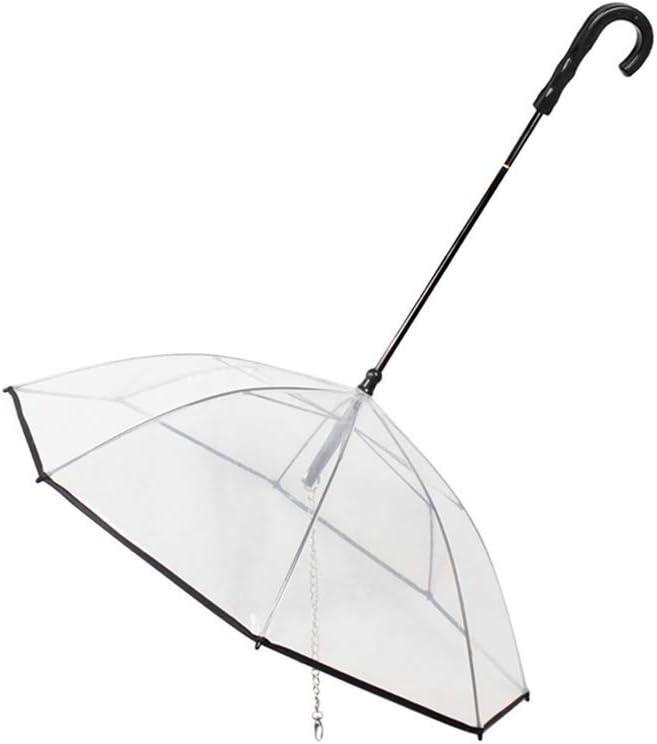 Runfon Paraguas para Mascotas Transparente Paraguas Impermeable para Perro Gato