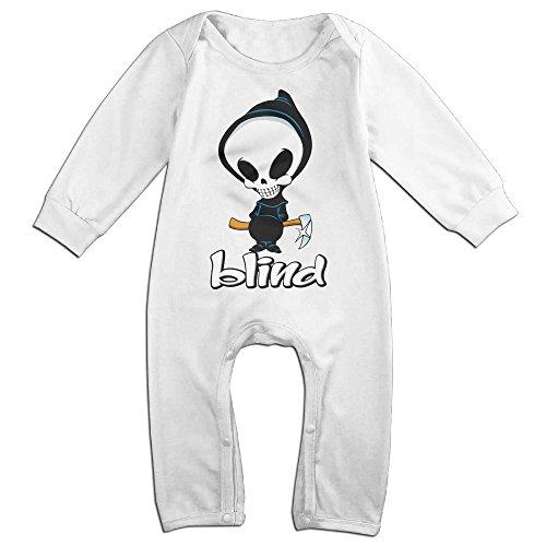 Pcy Newborn Babys Boys   Girls Blind Skull Logo Melon Long Sleeve Bodysuit Baby Onesie For 6 24 Months White Size 6 M