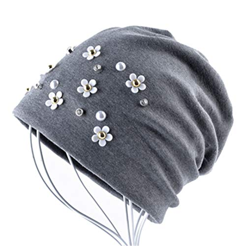 Fashion Beanie Hat Pure Color Pear Rhinestone Flower Girl Autumn And Winter by GLDHFES