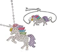 Sandalas 2pcs Unicorn Pendant Necklace Rhinestone Rainbow Unicorn Bracelet for Girls Unicorn Necklace Gift for