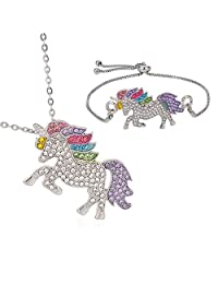Sandalas 2pcs Unicorn Pendant Necklace Rhinestone Rainbow Unicorn Bracelet for Girls Unicorn Necklace Gift for Girls(H01)