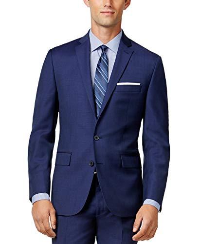 Ryan Seacrest Mens Textured Double Vent Two-Button Blazer Blue - Vent Double