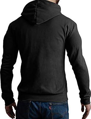 CLOVERY Men's Casual Hoodie Zipper Jacket Solid Long Sleeve Zip-up Hoodie with Plus Size