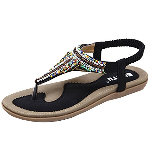 IGEMY Women Flat Shoes,Lady Bead Bohemia Leisure Sandals Peep-Toe Outdoor Shoes Black