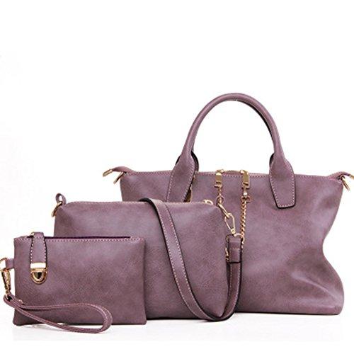 LXYIUN Mujeres Moda PU Mano Bolso De Cuero,Retro Nuevo Traje De Tres Piezas Bolso Paquete Diagonal Embrague Paquete De Madre con Cremallera De Color Sólido,Purple Purple
