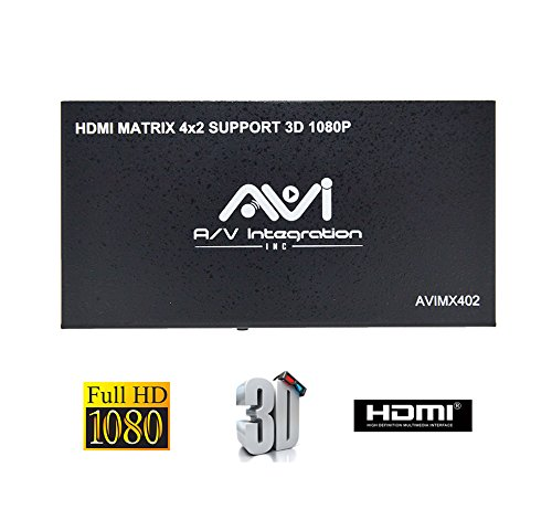 - AVISHOP 4x2 HDMI Matrix Switch with Remote Control Support 3D 1080P Any 4 HDMI inputs to Any 2 HDMI Standard outputs