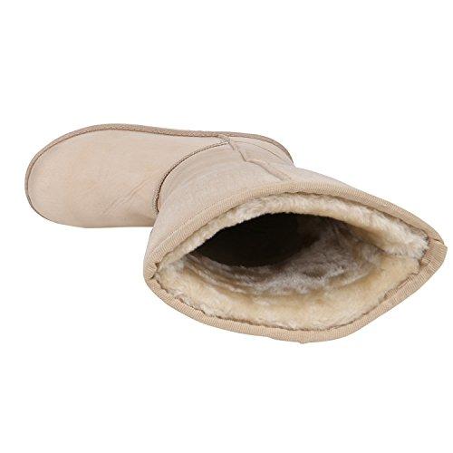Warm Gefütterte Boots Schlupfstiefel Strass Blumen Schleifen Pailletten Schuhe Kunstfell Stiefel Nieten Booties Winterstiefel Flandell Creme Amares