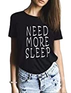 Haola Women's Sexy Casual T-shirts O Neck Letter Graphic Tees Printed Tops
