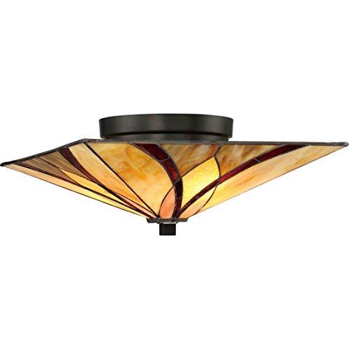"Quoizel TFAS1615VA Asheville Tiffany Flush Mount Ceiling Lighting, 2-Light, 120 Watts, Valiant Bronze (7"" H x 15"" W)"