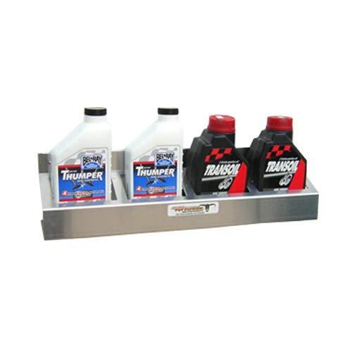 Pit Posse 305 4 Bottle Oil Caddy Shelf Aluminum Enclosed Race Trailer Shop Garage Storage Organizer