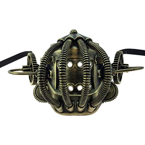 Storm Buy] Steampunk Style Metallic Scientist Time Traveler Half Bottom Face Mask Halloween Costume Cosplay (Ancient Gold)