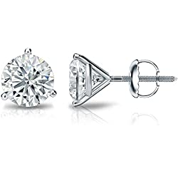 14k Gold 3-Prong Martini Round Diamond Stud Earrings (1/4 - 2 ct, J-K, I1-I2) Screw-Backs