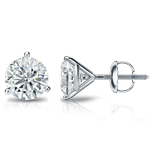 Diamond Wish 14k White Gold Round Diamond Stud Earrings (2ct TW, J-K, I1-I2, IGI Certified) 3-Prong Martini, Screw-Back 2ct Tw Diamond Setting
