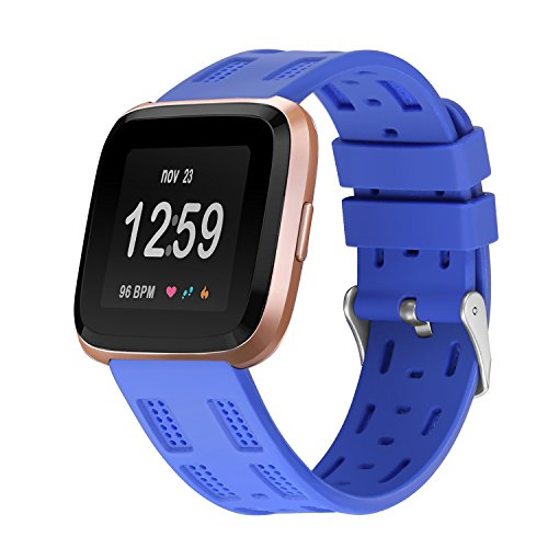 bayite Silicone Bands Compatible Fitbit Versa, Sport Replacement Wristband Accessories Fitness Women Men, Blue
