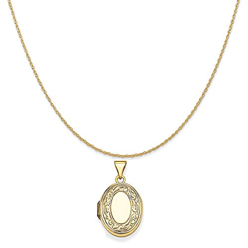 - Mireval 14k Yellow Gold Scroll Oval Locket Pendant on a 14K Yellow Gold Rope Chain Necklace, 18