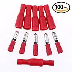 Conectores de bala de 100 piezas hembra y macho de alambre de bala Crimp terminales surtido Kit 22-16 AWG surtido