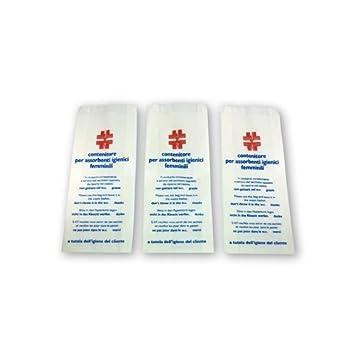Unidades 100 Sobres para compresas higiénicas femeninas. Contenedores de papel politenato para baños. Bolsas higiénicas.