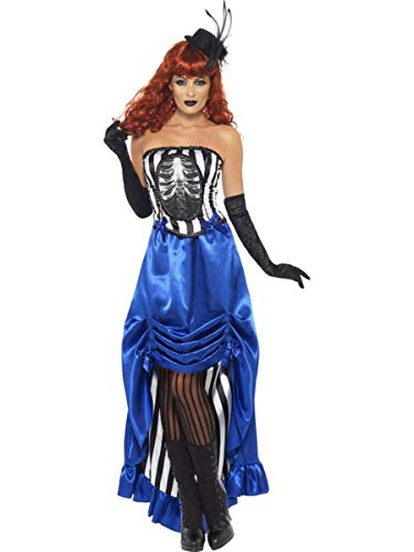 Smiffy's Burlesque Pin Up Costume, Blue/Black/White, Small