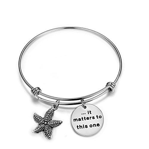 Bracelet Starfish (Zuo Bao Starfish Jewelry It Matters To This One Adjustable Bangle Bracelet Sea Jewelry Social Worker Gift (Bangle))