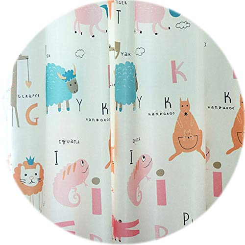 (No Buy No Bye Children Room Semi-Blackout Curtain Cartoon Animals Design for Kids Decor Door Drapes Single Panel Fabrics,Pink Blackout,W300cm L270cm,4 Pull Pleated Tape)