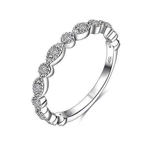 Women Wedding Ring 2 Carat Round Brilliant Cubic Zirconia Engagement Promise Anniversary Ring Eye Wedding Band, JPR009-6 Etoile Band