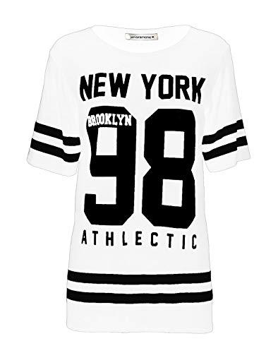 Janisramone donne Le signore Nuovo baseball di New York 98 di Brooklyn Varsity stripe Stampare extralarge a cavallo basso Maglietta Cima Bianco