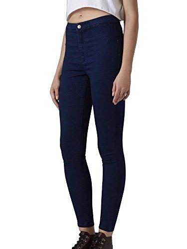 Pantaloni Marino Stretch Denim Casuali Skinny A Alta Vita Matita Donna Blu Jeans qaCPE